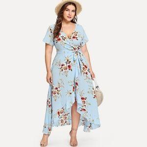 Asymmetrical Floral Wrap Dress